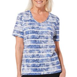 Coral Bay Womens Striped Snake Print Top