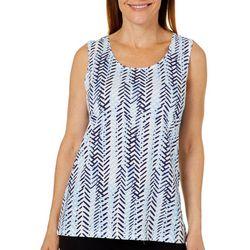 Coral Bay Womens Herringbone Print Sleeveless Top