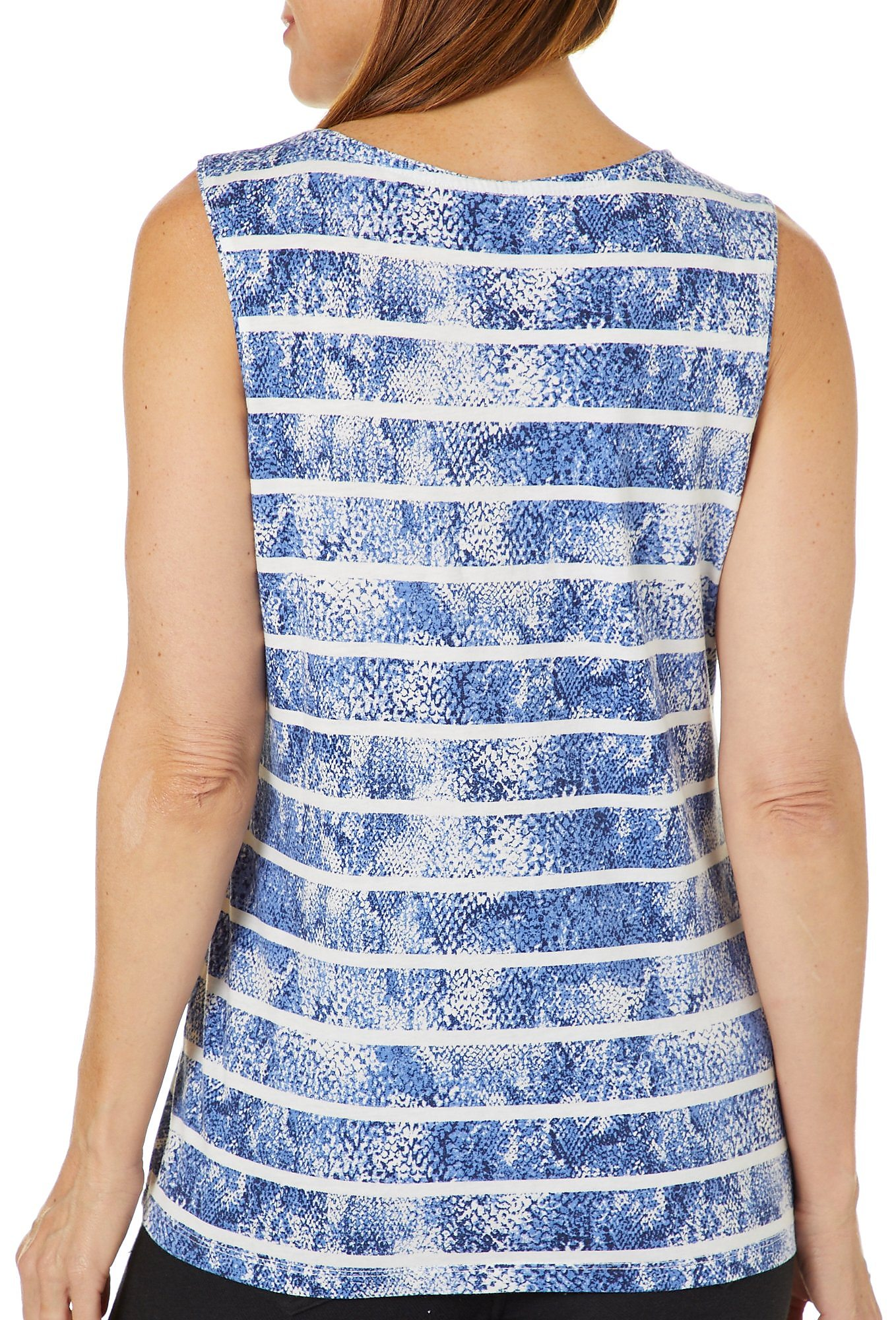 0addee41d41 Details about Coral Bay Womens Striped Snake Print Tank Top