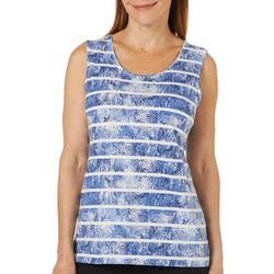 Coral Bay Womens Striped Snake Print Tank Top