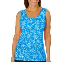 Coral Bay Womens Monkey & Palm Tree Print Tank Top
