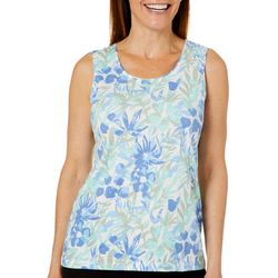 Coral Bay Womens Painted Floral Sleeveless Top