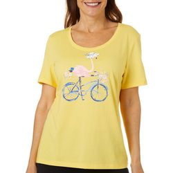 Coral Bay Womens Jeweled Flamingo Bicycle Top