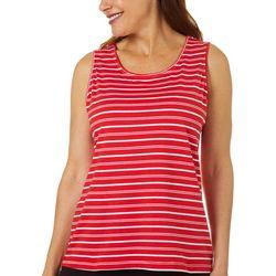Coral Bay Womens Stripe Print Scoop Neck Tank