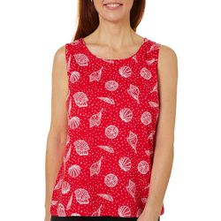 Coral Bay Womens Dotted Shell Print Scoop Neck Tank
