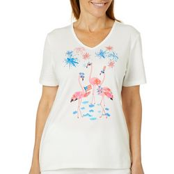 Coral Bay Womens Jeweled Americana Flamingos Top