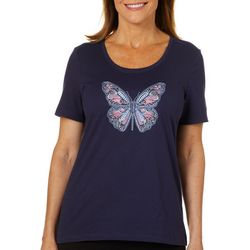 Coral Bay Womens Embroidered Butterfly Scoop Neck Top