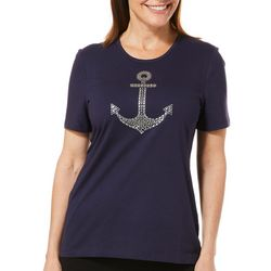 Coral Bay Womens Jeweled Anchor Top
