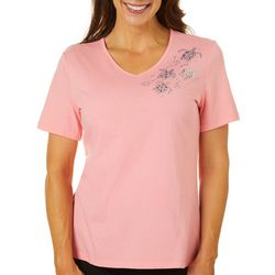 Coral Bay Womens Jeweled Turtles Top