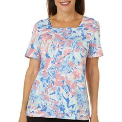 Coral Bay Womens Watercolor Garden Print Square Neck Top