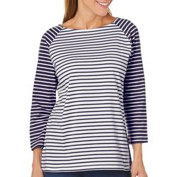 Coral Bay Womens Striped Boat Neck Top