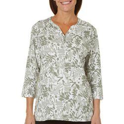 Coral Bay Womens Henley Slub Knit Printed Top