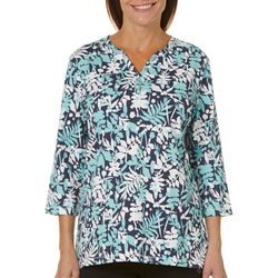 Coral Bay Womens Henley Slub Knit Printed Top