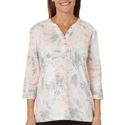 Coral Bay Womens Henley Palm Frond Print Knit Top