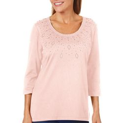 Coral Bay Womens Embellished Solid Top