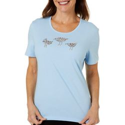 Coral Bay Womens Holiday Sandpiper Embellished Top