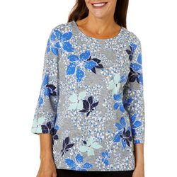 Coral Bay Womens Orchid Blossoms Round Neck Top