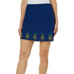 Coral Bay Womens Embellished Pineapple Pull On Skort