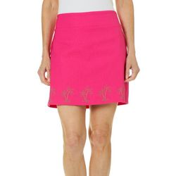 Coral Bay Womens Embellished Palm Tree Pull On Skort