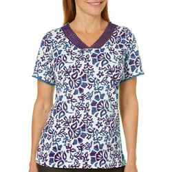 Coral Bay Womens Floral Crochet Neck Gauze Top
