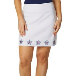 Coral Bay Womens Embellished Americana Star Border Skort