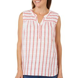 Coral Bay Womens Striped Notch Neck Sleeveless Top