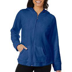 Coral Bay Womens Textured Fleece Zip Up Jacket