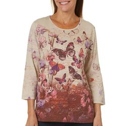 Coral Bay Womens Floral Butterfly Script Top
