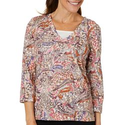 Coral Bay Womens Embellished Paisley Leaf Top