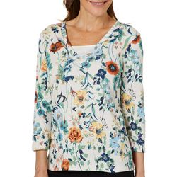 Coral Bay Womens Embellished Floral Garden Top