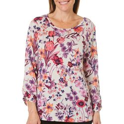 Coral Bay Womens Floral Garden Ruched Sleeve Top