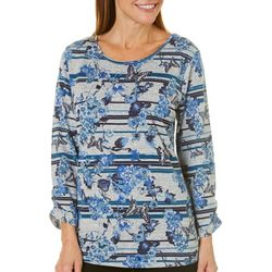 Coral Bay Womens Striped Floral Butterfly Top