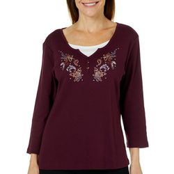 Coral Bay Womens Embellished Floral Paisley Top