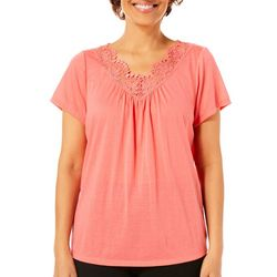 Coral Bay Womens Solid Crochet Short Sleeve Top