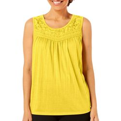 Coral Bay Womens Solid Lace Sleeveless Top