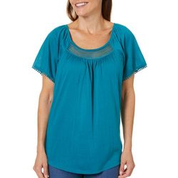 Coral Bay Womens Solid Crochet Pom Pom Top