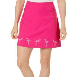 Coral Bay Womens Solid Flamingo Embellished Skort