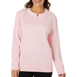 Coral Bay Womens Solid Quarter Zip Pull Over Sweater