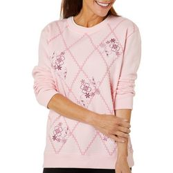 Coral Bay Womens Floral Embellished Pull Over Sweater