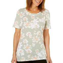 Coral Bay Womens Horizontal Stripes Floral Print Top