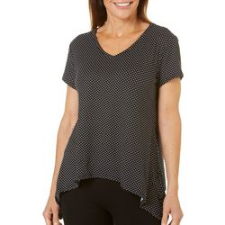 Coral Bay Womens Dotted Sharkbite Hem Top