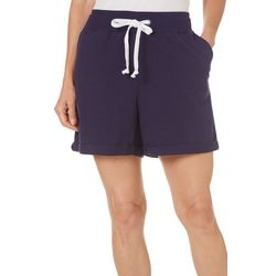 Coral Bay Womens Solid French Terry Shorts