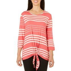Coral Bay Womens Horizontal Stripes Tie Front Top