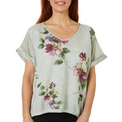 Coral Bay Womens Floral Linen V-Neck Top