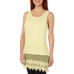 Coral Bay Womens Solid Lace Trim Tank Top