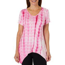 Coral Bay Womens Tie Dye Print Sharkbite Hem Top