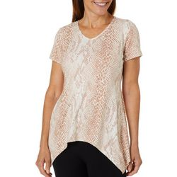 Coral Bay Womens Snake Print Sharkbite Hem Top