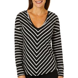 Coral Bay Womens Striped Deep V-Neck Top