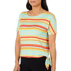 Coral Bay Womens Striped Side Tie Top