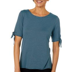 Coral Bay Womens Striped Tie Sleeve Top